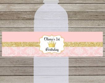 Etiquetas De Las Botellas De Agua Princesa Oro Rosa Royal Princess Birthday Invitations Royal Birthday Party Birthday Party Set