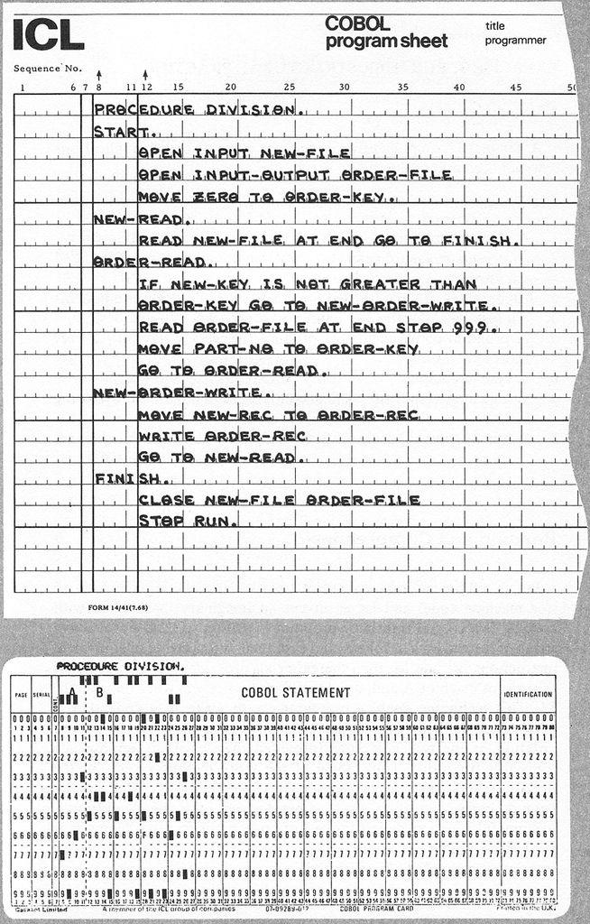 ICL COBOL Program Sheet - cobol programmer resume