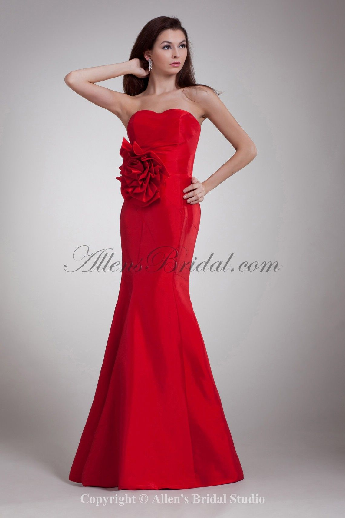 floor length sweetheart prom dress with flower