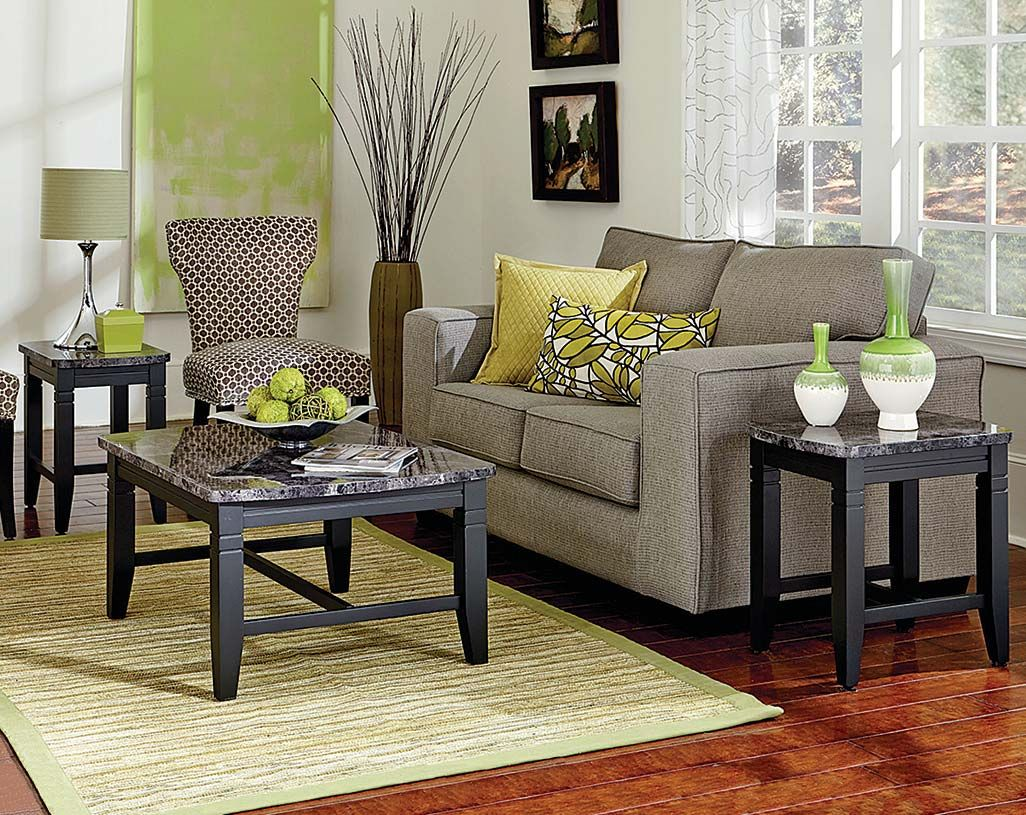 Amazing Charcoal Gray, Marble Style Top Coffee Table And End Table Set