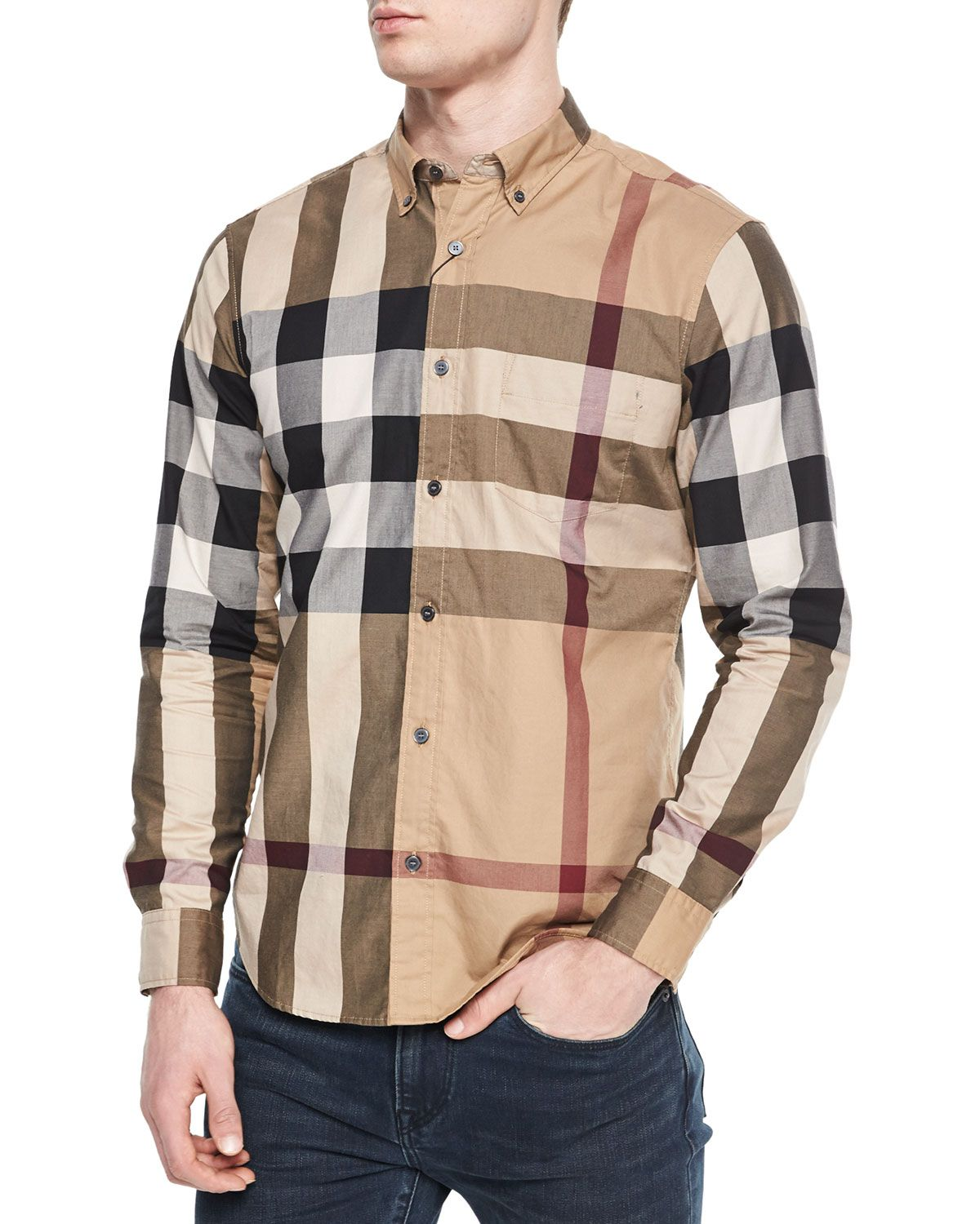 a7c36266f Fred Woven Check Sport Shirt, Tan, Men's, Size: XX-LARGE, Camel - Burberry  Brit