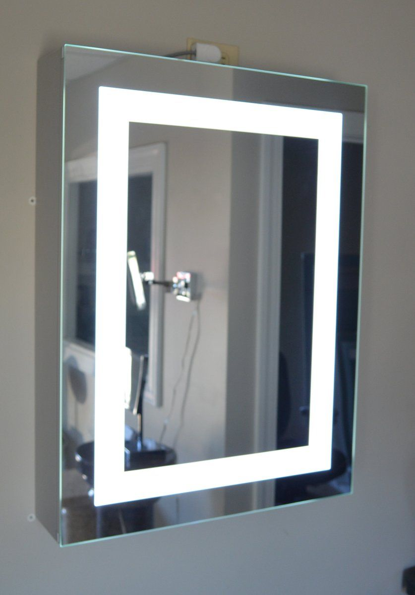 Mirrorarble Brand Commercial Grade Surface Mounted Led Lighted Bathroom Mirror Medicine Cabinet 24 Inches Wide 36 Tall