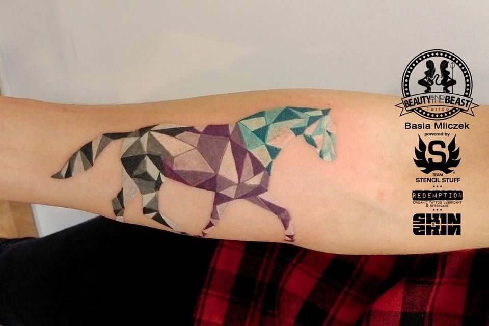 Geometric horse tattoo by basia limited availability at
