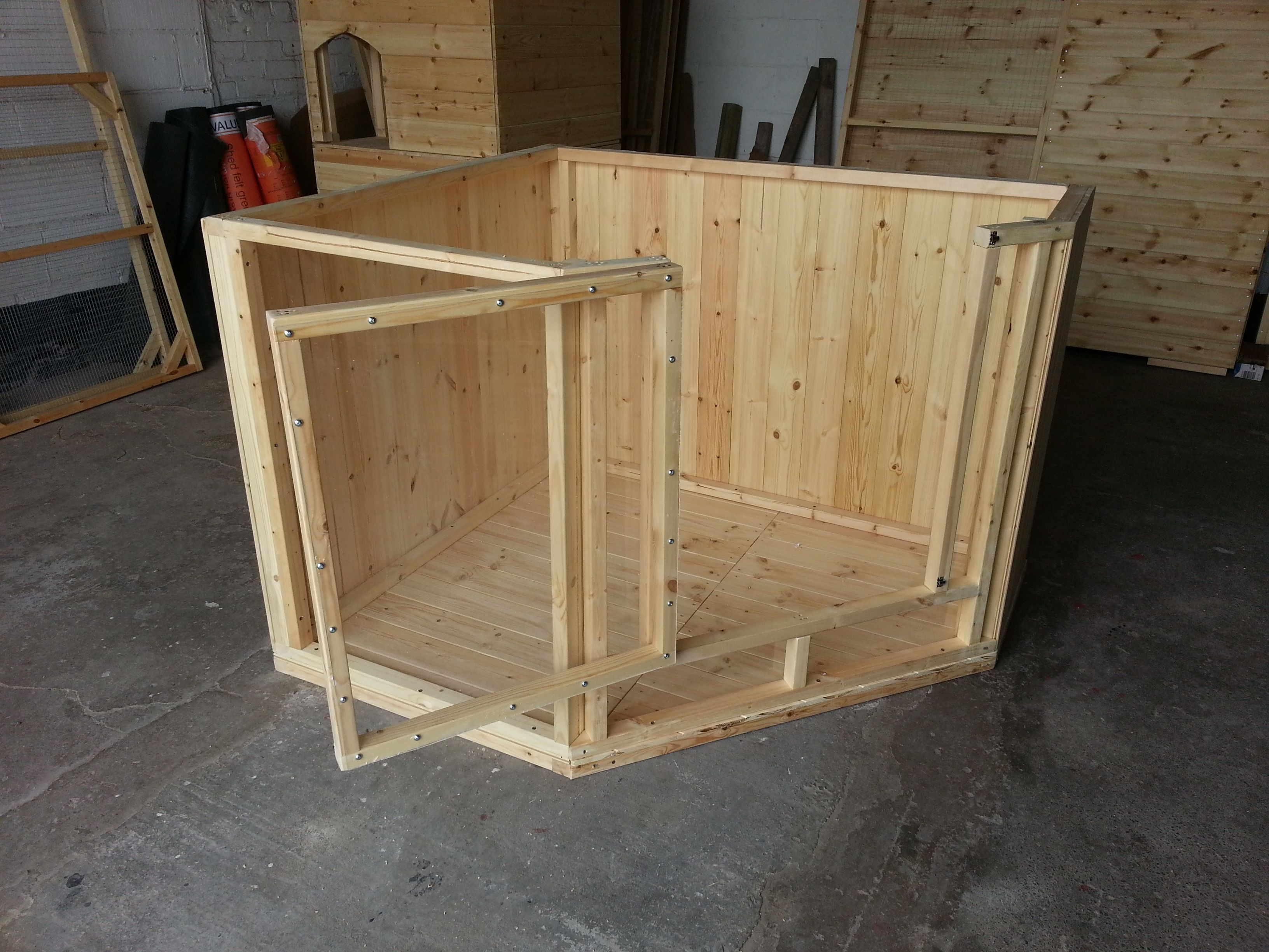 Bespoke indoor pen with solid timber floor back and sides for Homemade bunny houses