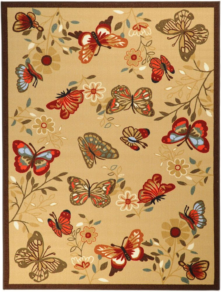 Beige Contemporary Butterflies Design Non Slip Area Rug 3 3 X5 0 Butterfly Rug Area Rugs Rugs