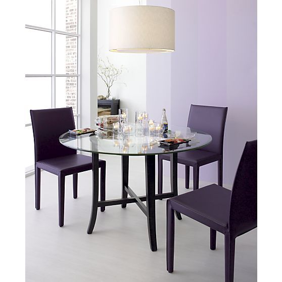 Halo Ebony Dining Table With 48 Gl Top In Tables Crate And Barrel