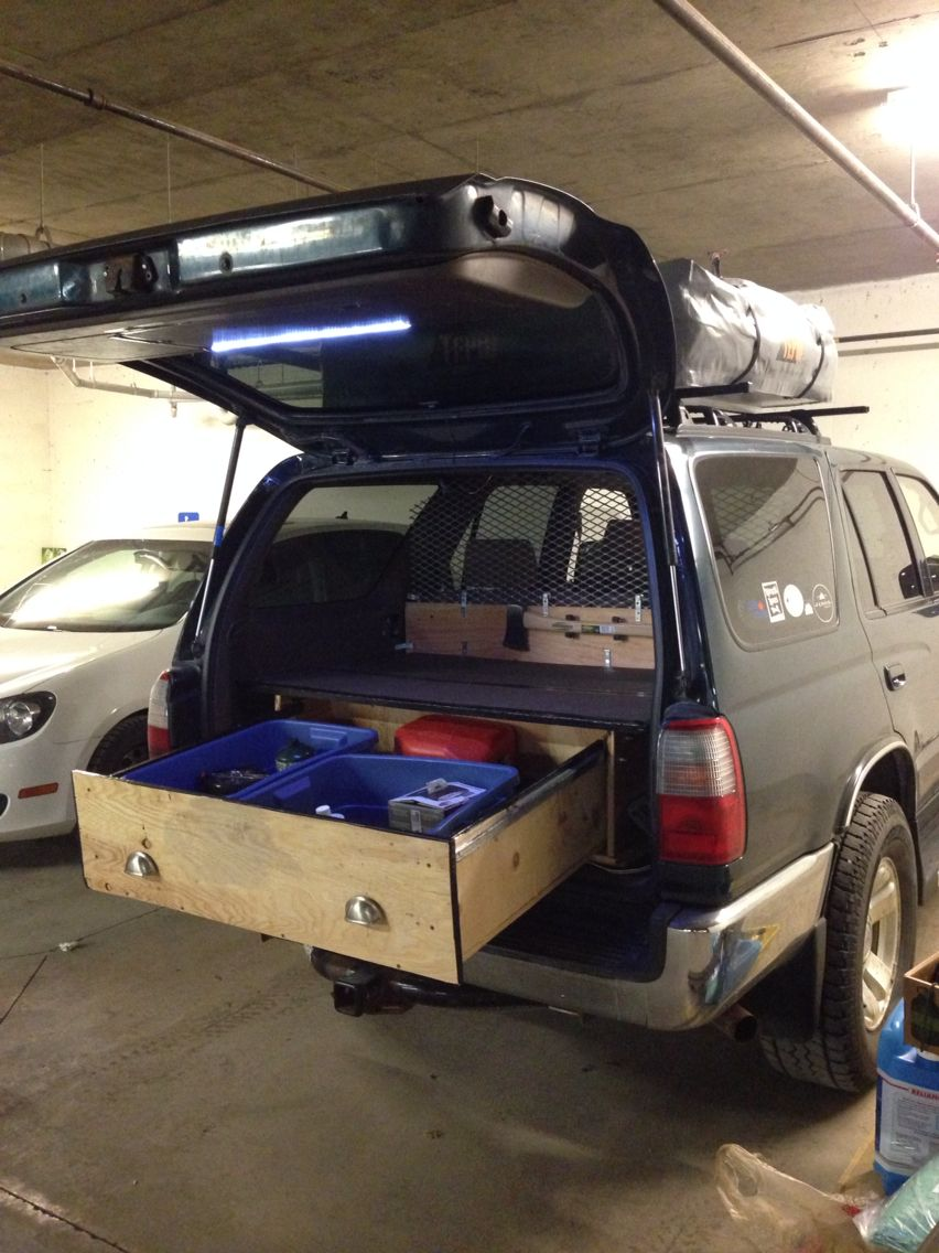 toyota 4runner with roof top tent and diy storage roll out drawers cargo barrier led light. Black Bedroom Furniture Sets. Home Design Ideas