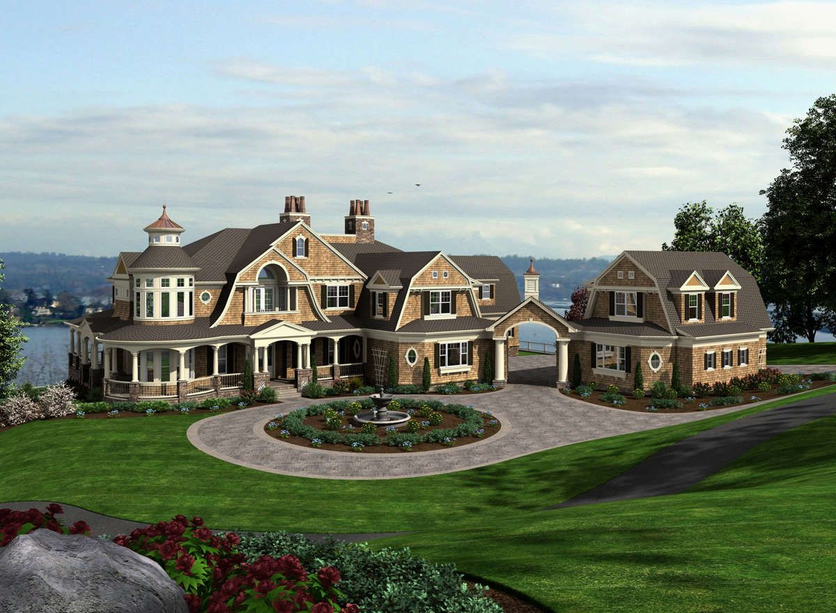 House Plan 341 00303 Luxury Plan 7 895 Square Feet 4 Bedrooms 5 5 Bathrooms In 2020 Craftsman Style House Plans Craftsman House Plans Shingle Style Homes