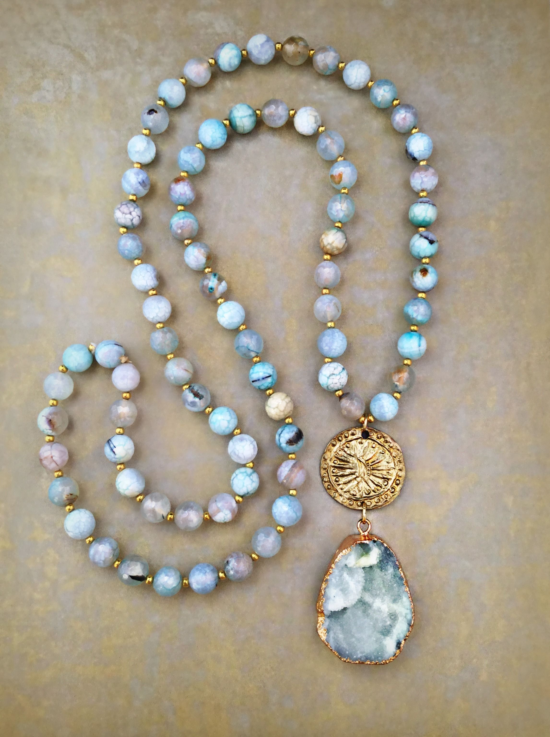 Aqua agate druzy pendant necklace with a gold coin 2017 bohemian aqua agate druzy pendant necklace with a gold coin aloadofball Images