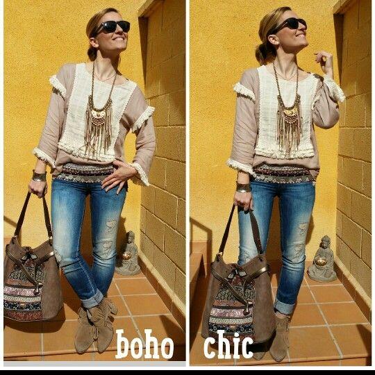 Outfit Boho chic primavera, cinturon boho monedas, ripped jeans boho