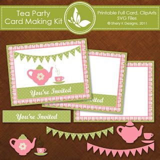 Shery K Designs Free Tea Party Invitation Card making Kit FREE