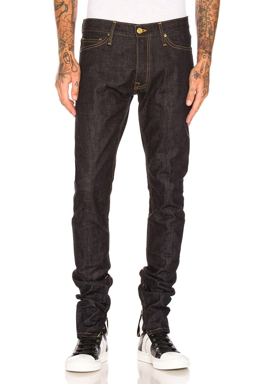 Fear Of God Selvedge Paneled Denim In Indigo Fwrd Denim Mens Denim Black Jeans