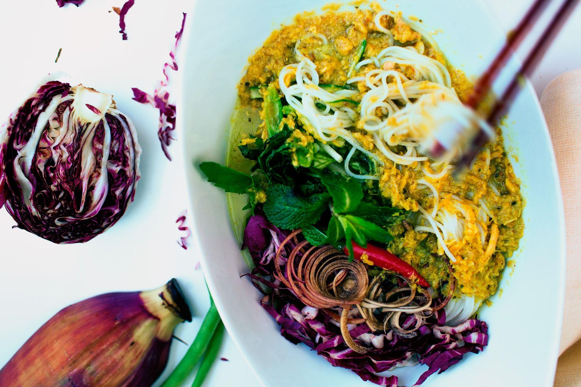 How to Make Nom Banh Chok | Recipe | Cambodian food, Food, Recipes