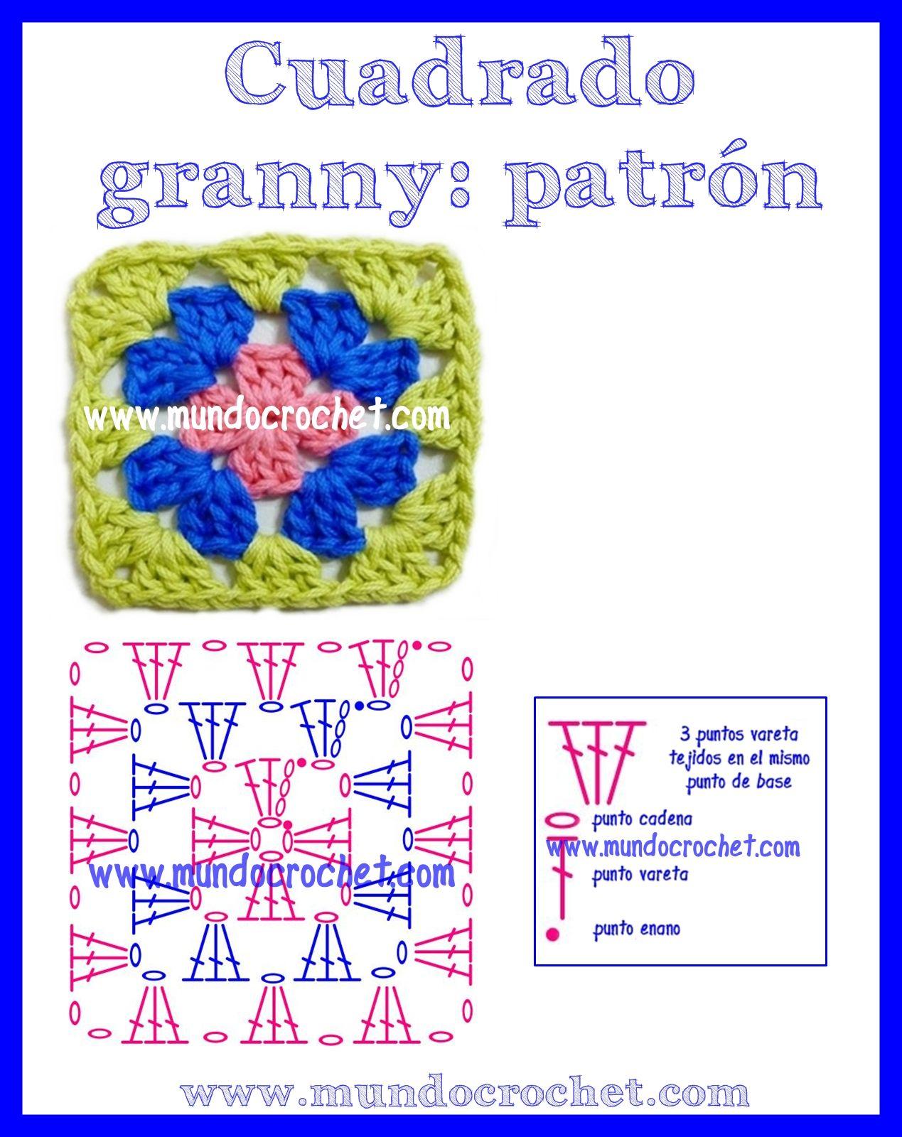 Como tejer un cuadrado granny a Crochet | crochet | Pinterest | Como ...