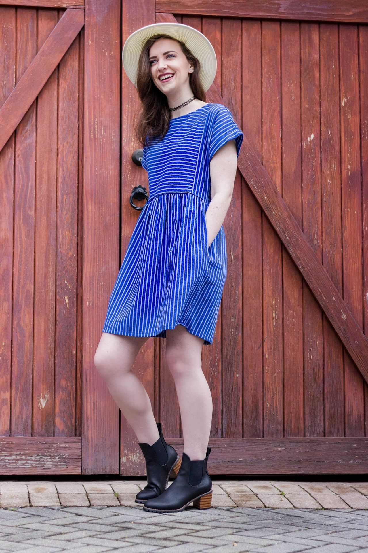 Everly striped dress with images loose fitting dresses