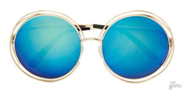 Óculos De Sol Redondo Extra Grande Inspired Com Lente Espelhada Em Metal     Ui! Gafas a7784e5a85