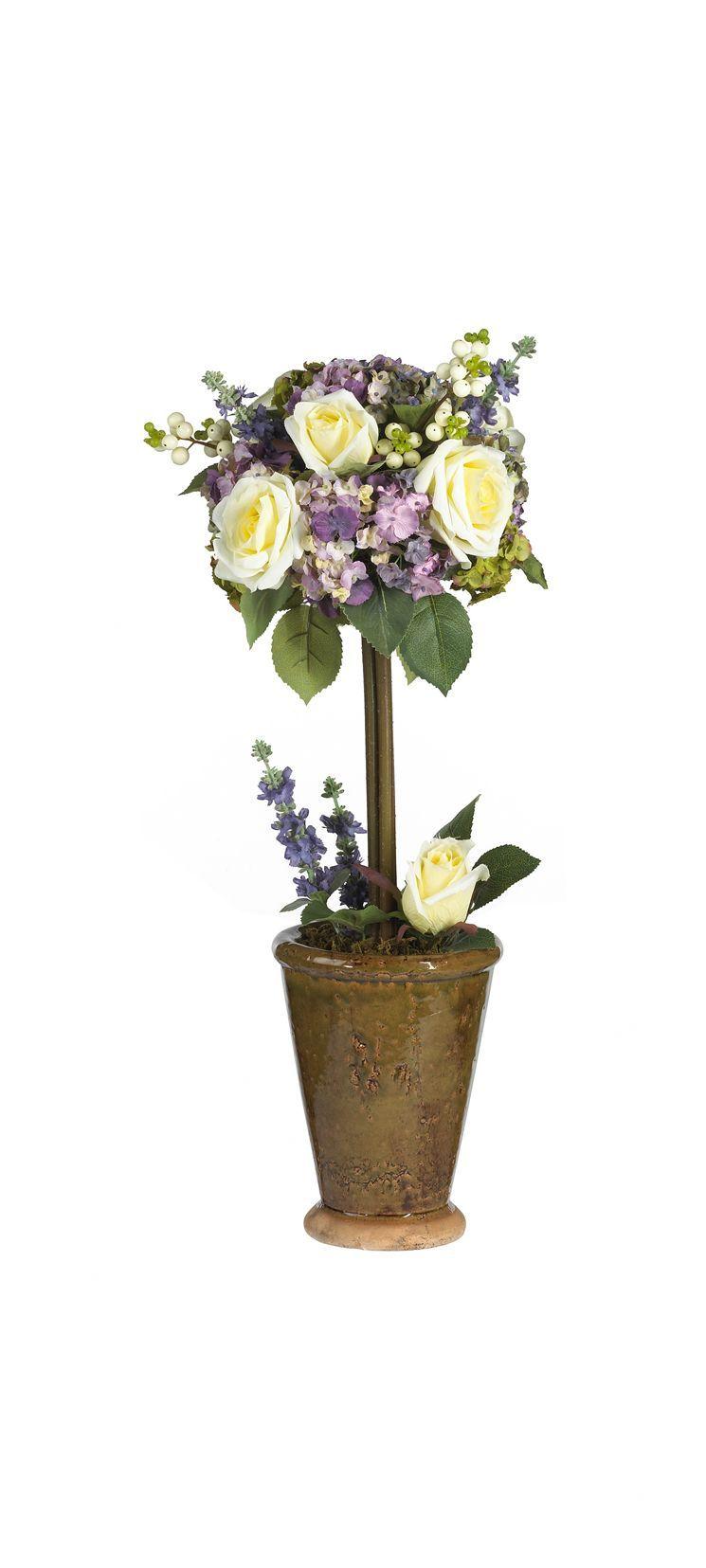 Hydrangea Rose Silk Flower Arrangement Topiary In Planter