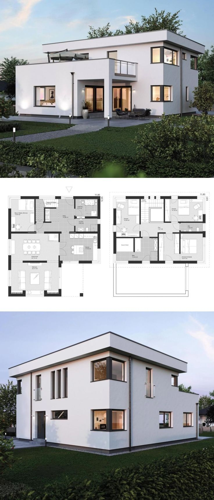 Modern City Villa Floor Plan With Flat Roof Bauhaus Style Architecture Annex Architecture House Flat Roof House Architecture