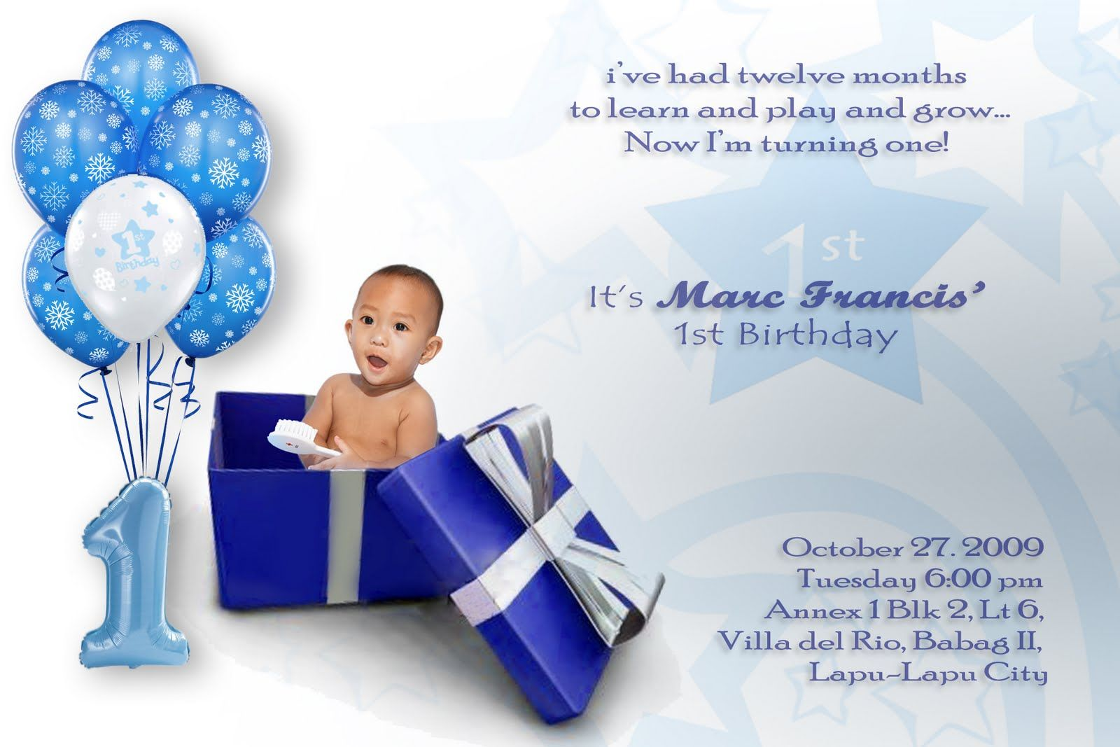 Nice Baby Boy First Birthday Invitations