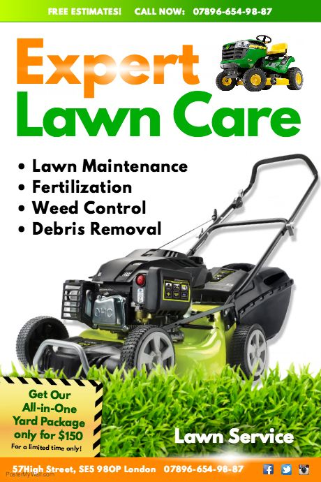 Create amazing lawn care flyers by customizing our easy to for Local lawn care services