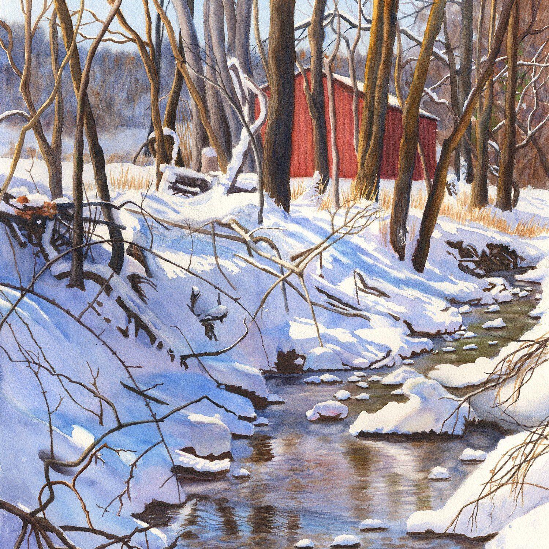 Winter watercolor art Winter landscape art watercolor painting print snow creek by Cathy Hillegas 11x14 landscape watercolor Reflections