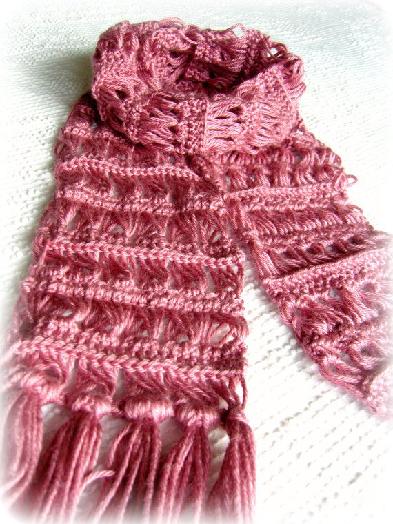Pink Scarf Crochet Scarf Broomstick Lace. i have never tried to do ...
