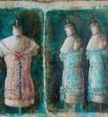 Mannequins from Moscow Album 40 x 48 in, mixed media on canvas