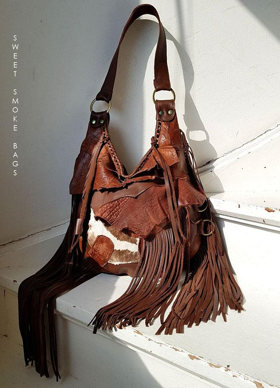 bf50d79604d6 Brown distressed leather bag few tones fringe fringed hobo tribal festival  bohemian boho zebra purse sweet smoke free people bag moroccan