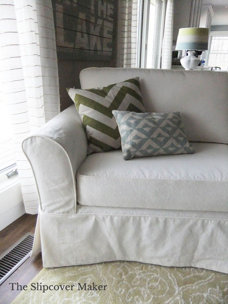 Cottage Style Canvas Slipcover Cottage Sofa White Couch Cover