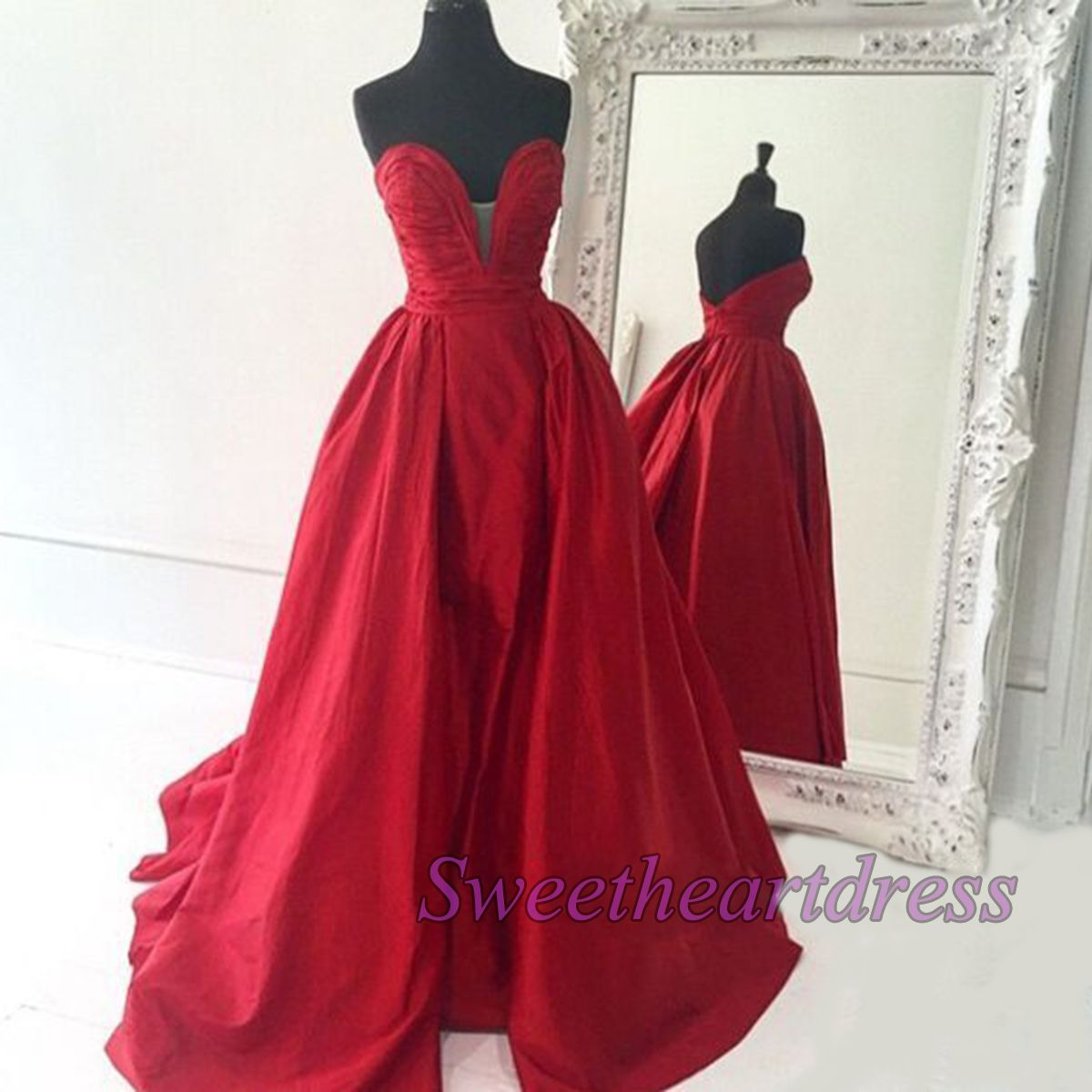 Wine red prom dressball gown unique design strapless chiffon