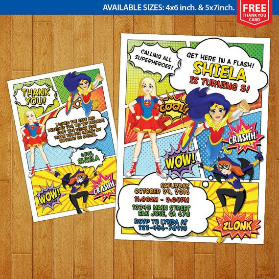 DC Superhero Girls Invitation DC Superhero By