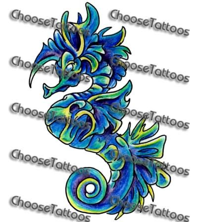 Pin Blue Seahorse Tattoos On Pinterest