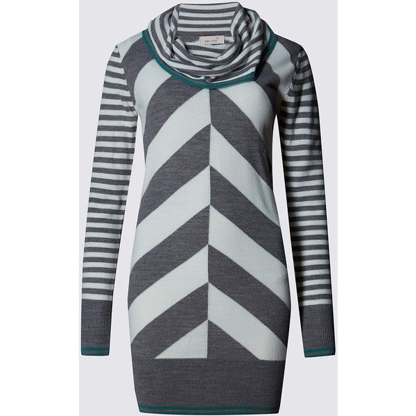 Per Una Chevron Cowl Neck Tunic Jumper ($43) ❤ liked on Polyvore featuring tops, sweaters, grey, cowl neck tops, grey jumper, long sleeve jumper, grey cowl neck sweater and stripe sweater