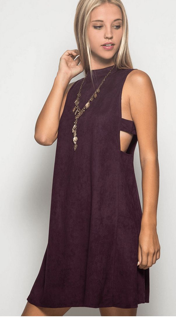 Cut it Out Faux Suede Dress