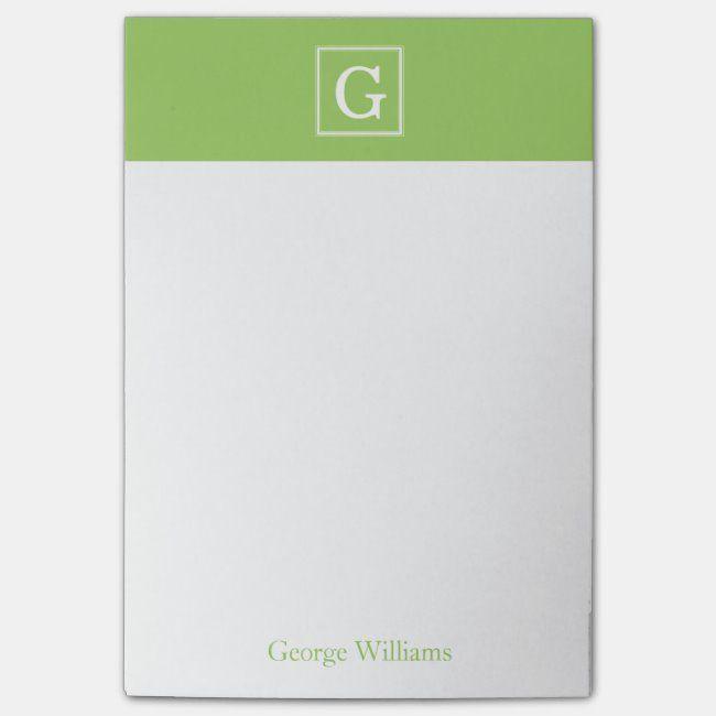 Kiwi Green Framed Monogram Personalized Postit Notes