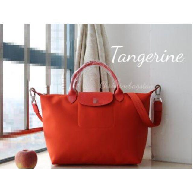 Authentic Longchamp Neo Tote Crossbody Bag Medium Short Handle Tangerine 392b8f89e6389