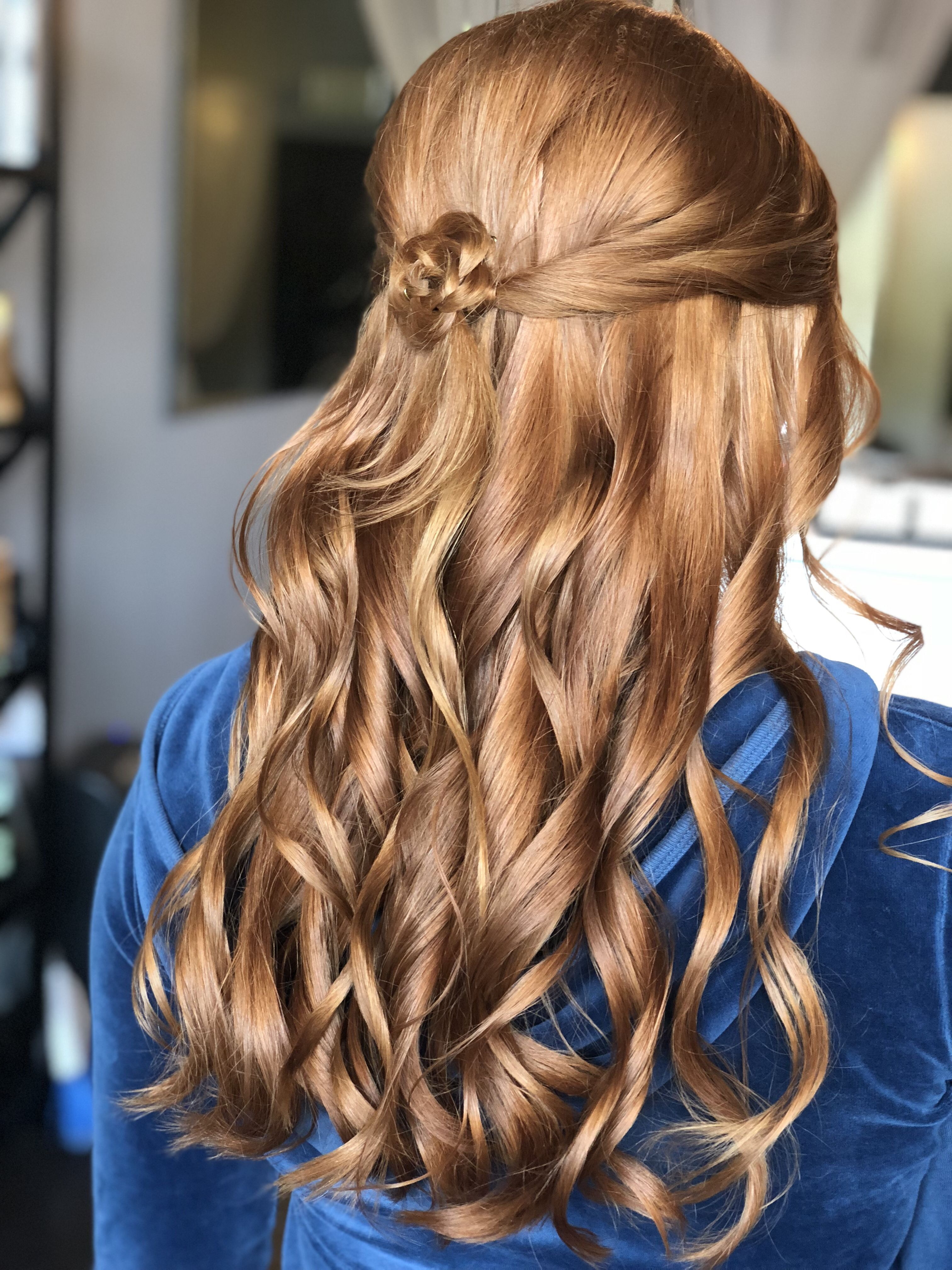 a bella bombshell- half up half down prom hair, redhead prom