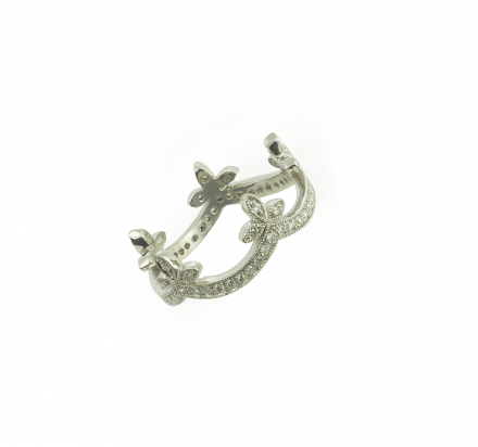 "WHITE bIRD   Cathy Waterman- #Bague ""Half Ribbon"".  Platine, diamants. #ring #jewel #diamonds"