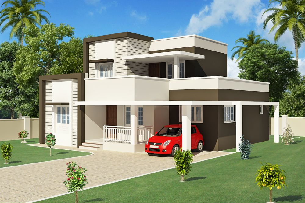 1200 kerala home design http www for Modern contemporary house plans for sale