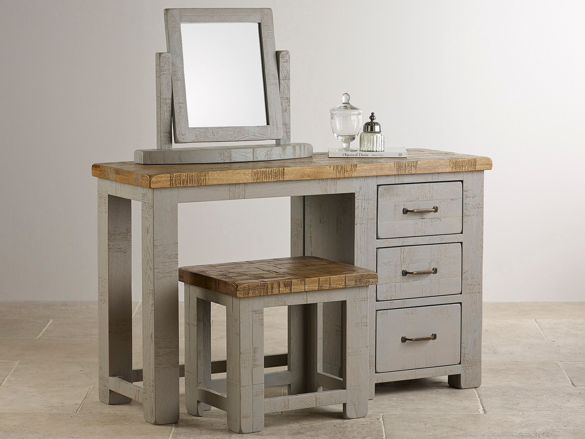 Bedroom furniture dressing table - Clermont Painted Rough Sawn Solid Oak Dressing Table 254 Solid Oak Furnituredressing Tablesbedroom Furnituredressings