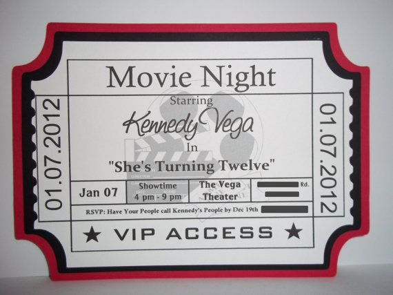 Printable Movie Night Party Ticket Invitations Personalized Custom ...