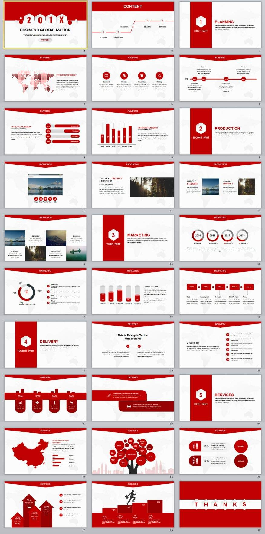 30 red creative business report powerpoint template business