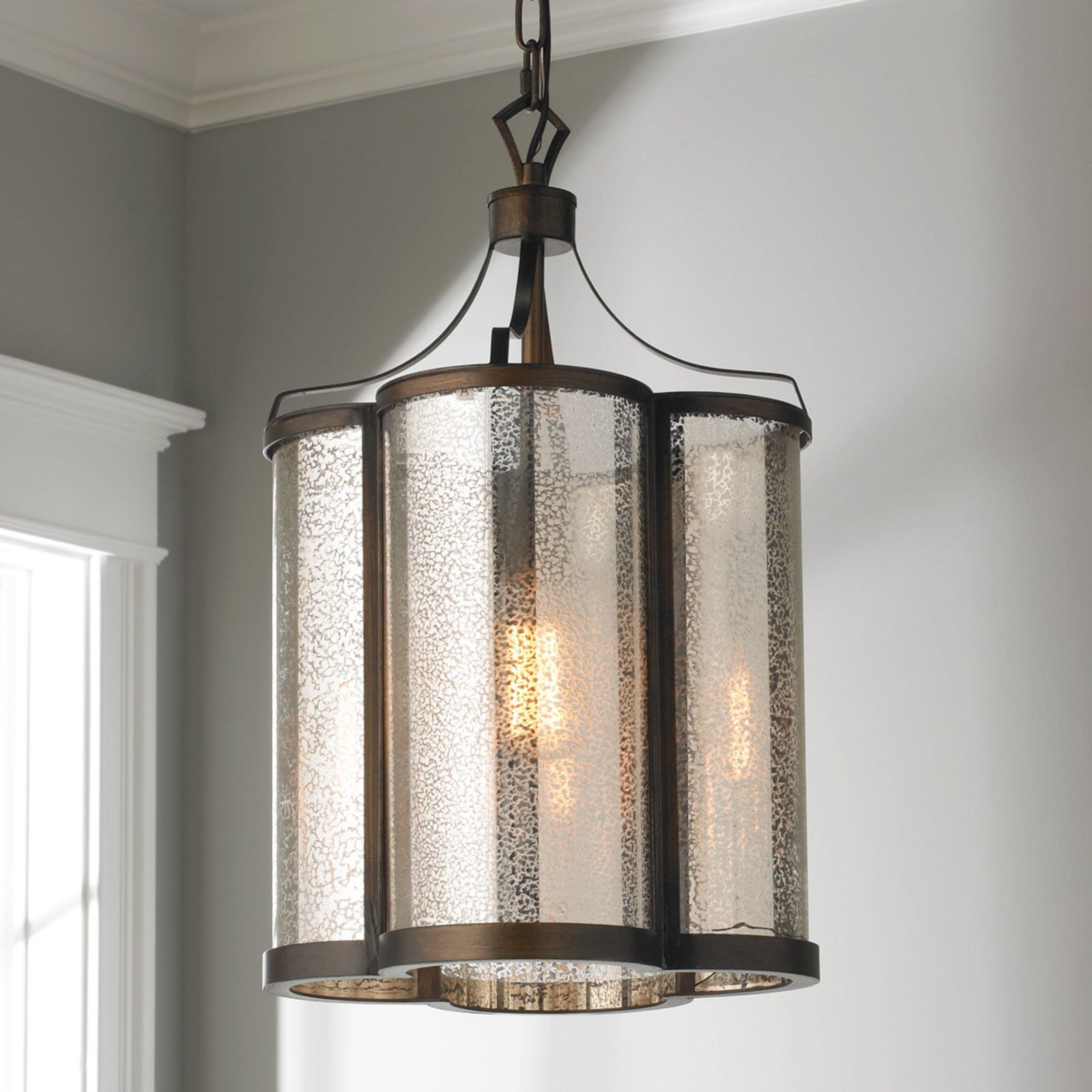 mercury glass pendant lighting. Scalloped Mercury Glass Pendant Lighting