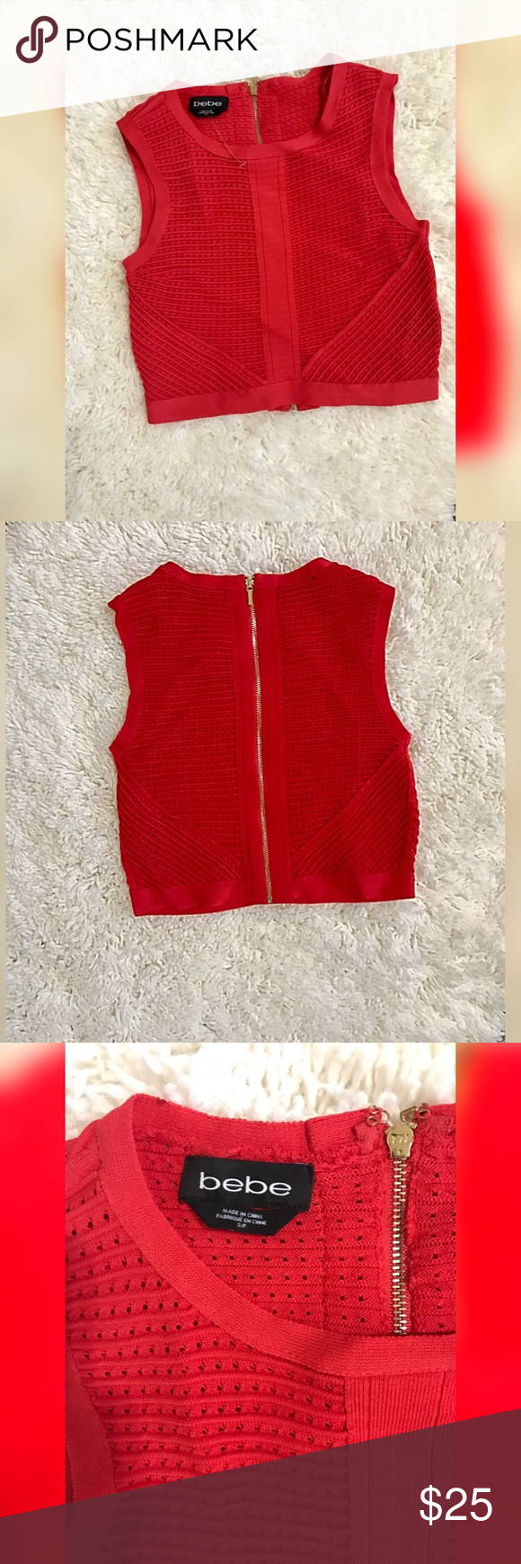 Bebe crop top, brand new! Bebe crop top, thick quality fabric, form fitting. Size Small. Tops Crop Tops