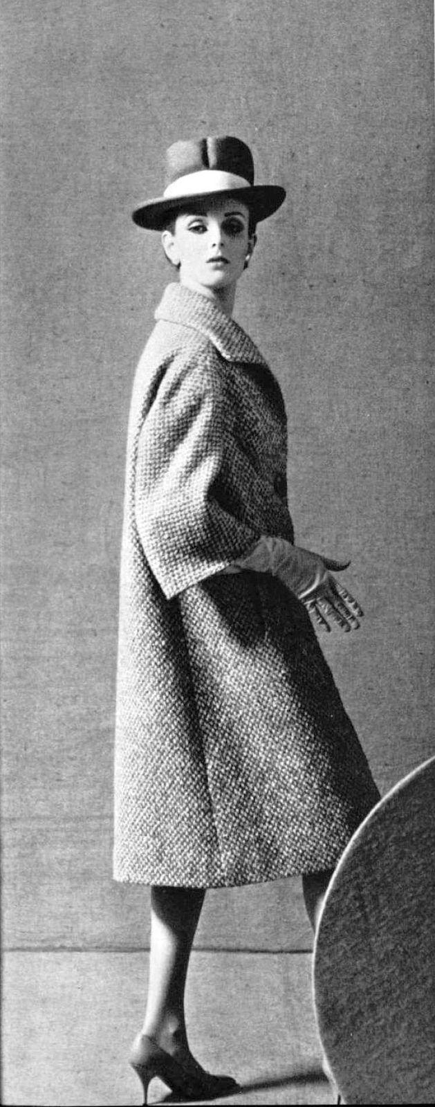 Grace Coddington in tweed coat by Pierre Balmain, photo by Guy Arsac, 1963