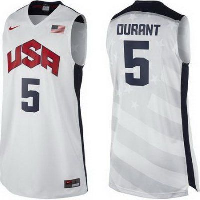 2012 Usa Basketball Jersey  5 Kevin Durant White Jerseys  3f76983fbefd