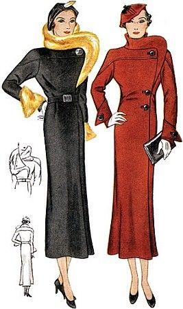 1930\'s coat pattern | Miss Hannigan Costume Ideas | Pinterest | Mode ...