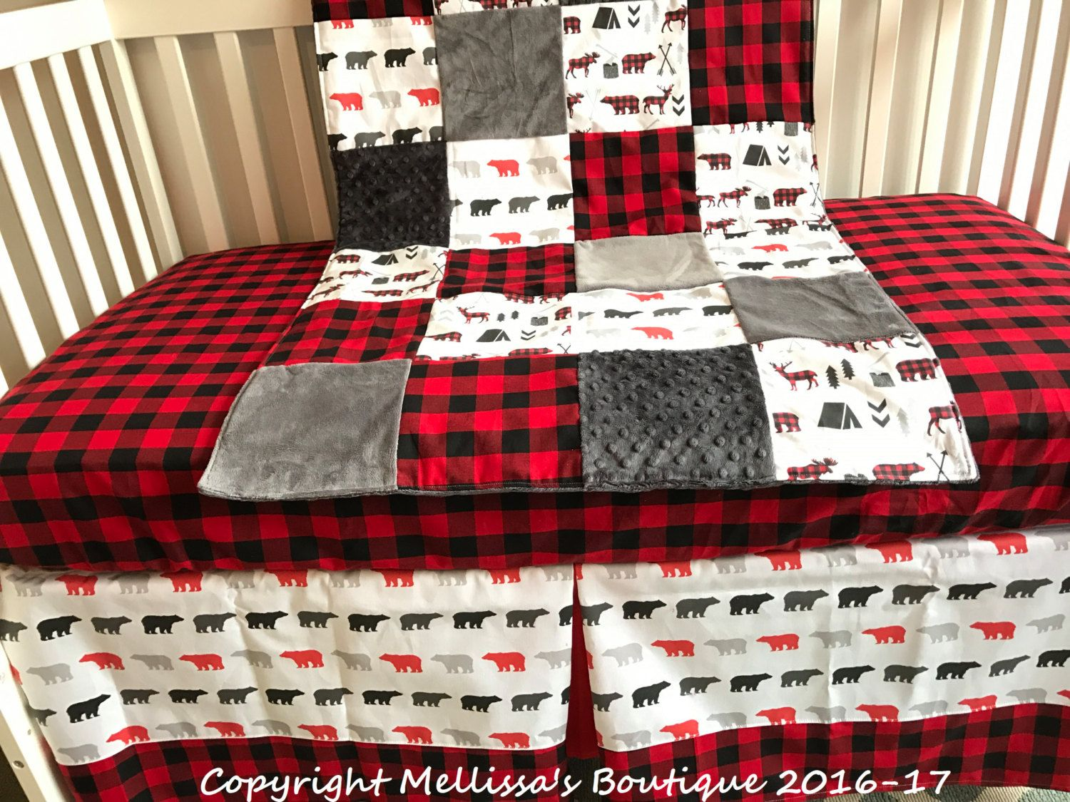 Rustic Buffalo Plaid Deer Woodland Red Black And Grey Baby