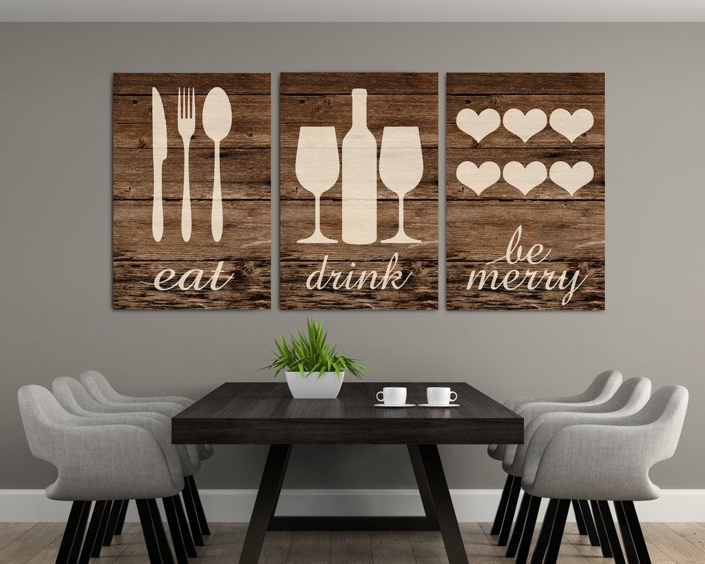 Rustic Eat Drink And Be Merry Canvases Modern Kitchen Wall Decor