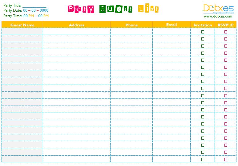 A Party Guest List Template To Help You In Party Task  Guest List Template